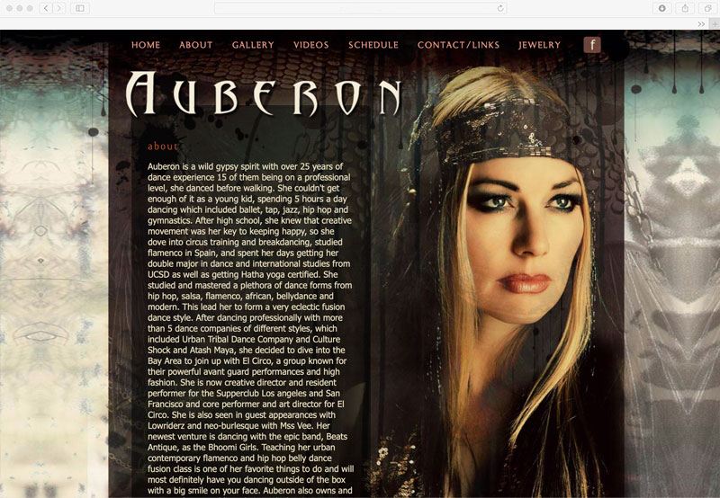 Auberon Dance and Jewelry Website
